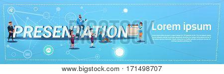 Business People Team Presentation Mix Race Seminar Concept Flat Vector Illustration