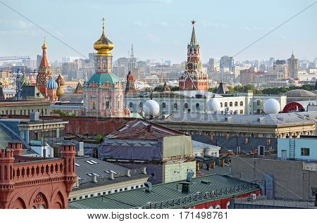 Aerial view of the historical downtown of Moscow from the viewing platform of the Central Children's Store on Lubyanka Square. Moscow, Russia.