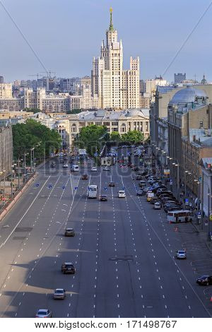 MOSCOW/ RUSSIA - MAY 26. Aerial view of a multilane city street and the high-rise Stalin-era residential building on Kotelnicheskaya embankment on May 26, 2016 in Moscow, Russia.