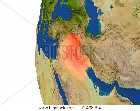 Iraq On Globe