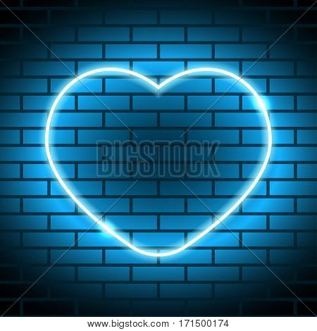 Neon heart Vector illustration Neon bright lamp in heart shape on brick wall Realistic style