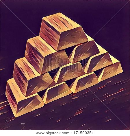 Gold bars pile on dark background. Digital illustration in hand-drawn style for wealth and richness concept business success enterprise profit gold savings treasury. Financial or banking image