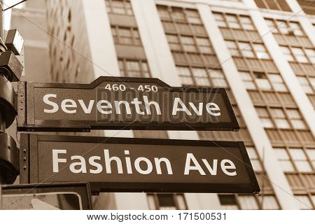Fashion avenue street sign in midtown Manhattan, New York city