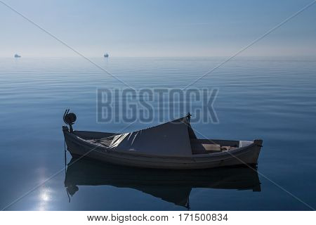 Boats and ships on the Aegean sea on Thessaloniki seafront in Greece