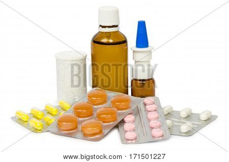a set of tablets and pills for a speedy recovery and prevention of diseases. Isolated on white background