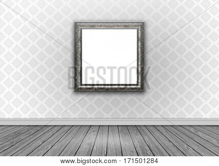 Room interior with damask wallpaper, blank picture frame and wooden floor