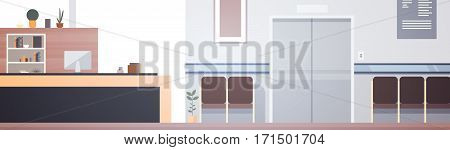 Hospital Room Interior Intensive Therapy Patient Waiting Hall Banner With Copy Space Flat Vector Illustration
