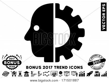 Black Cyborg Head pictograph with bonus 2017 trend pictograph collection. Vector illustration style is flat iconic symbols white background.
