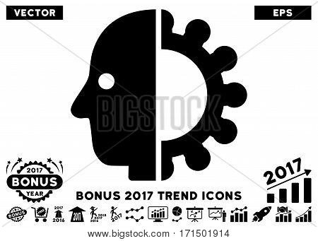 Black Cyborg Head pictograph with bonus 2017 trend symbols. Vector illustration style is flat iconic symbols white background.