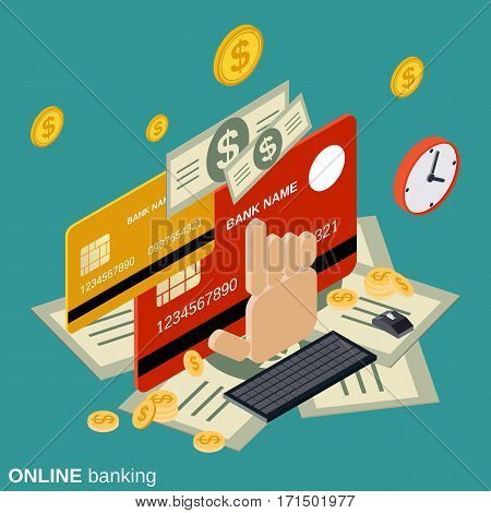 Online banking, money transfer, financial transaction vector concept illustration