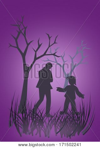 Two people who seem to have a conversation outdoors in the woods at dusk.