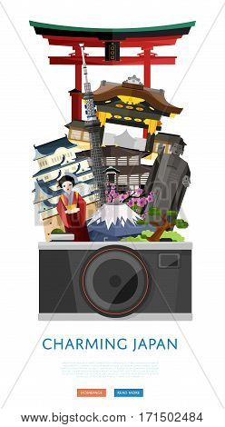Charming Japan poster with torii gate, fujiyama and ancient temples, vector illustration. Big camera on background of famous attractions. Time to travel concept. Worldwide traveling. Japan landmarks