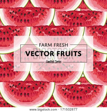 Organic farm fruit square banner with watermelon vector illustration. Natural fruit background, organic farming template, vegan food retail poster. Healthy farm fruit backdrop with watermelon pattern