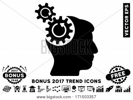 Black Head Cogs Rotation icon with bonus 2017 year trend design elements. Vector illustration style is flat iconic symbols white background.