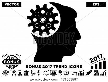 Black Head Gear pictogram with bonus 2017 year trend pictograph collection. Vector illustration style is flat iconic symbols white background.