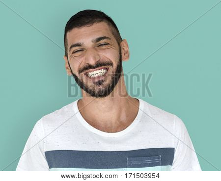 Middle Eastern Man Smiling Happiness Casual Studio Portrait