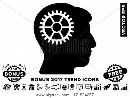 Black Intellect Cog icon with bonus 2017 trend pictograph collection. Vector illustration style is flat iconic symbols white background.