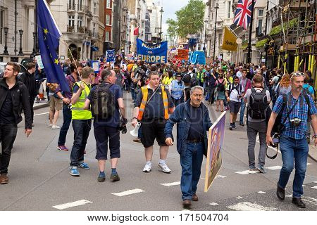 LONDON - July 2nd: Protesters at the march for europe protest on July the 2nd 2016 in London england uk. An estimated 35 thousand attended the march.