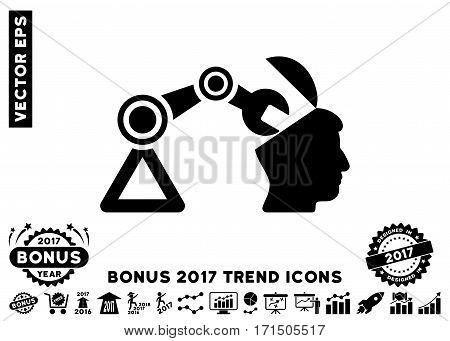 Black Open Head Surgery Manipulator pictogram with bonus 2017 year trend images. Vector illustration style is flat iconic symbols white background.
