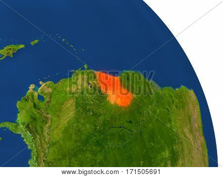 Map Of Guyana In Red