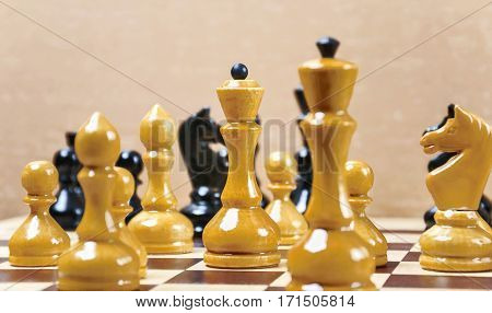 The Chess Pieces Are Placed On The Chessboard