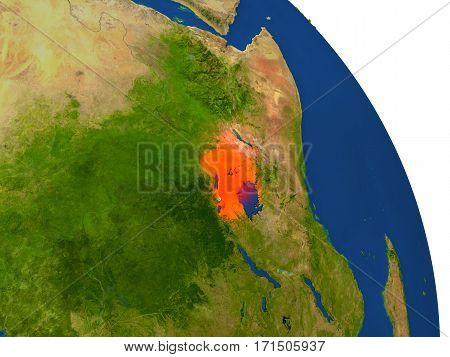 Map Of Uganda In Red