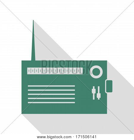 Radio sign illustration. Veridian icon with flat style shadow path.