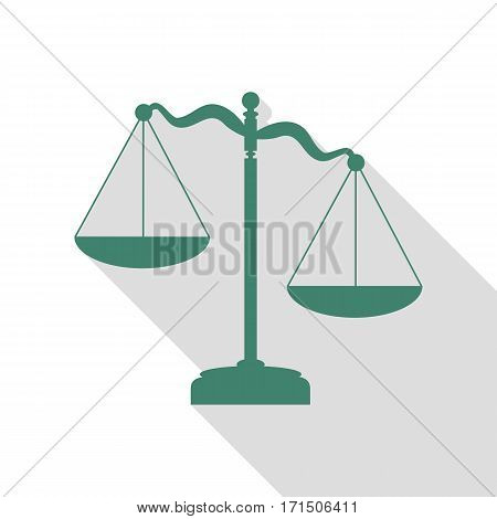 Scales of Justice sign. Veridian icon with flat style shadow path.