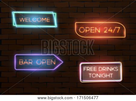 Illustration of Vector Neon Quote Frame Template. Vintage Neon Banner. Bar Advertising Neon Billboard