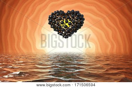 black heart made of spheres with reflections isolated on involute bright background and waterscape lake. Happy valentines day 3d illustration.