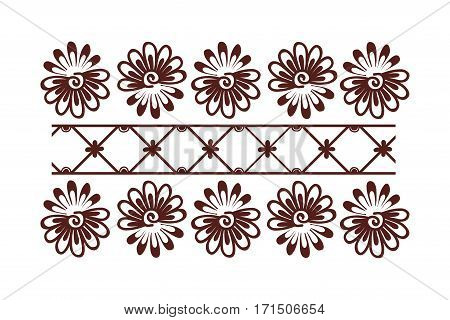 Henna tattoo mehndi flower template vector. Doodle ornamental lace decorative element. Indian design pattern paisley arabesque mhendi embellishment. poster