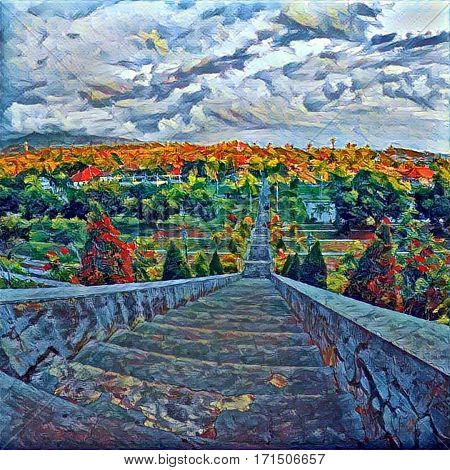 High stair in tropic park with top view landscape. Cloudy sky and forest land. Autumn colored tree crowns. Concrete steps going down. Outdoor travel in Asia. Digital illustration in modern style