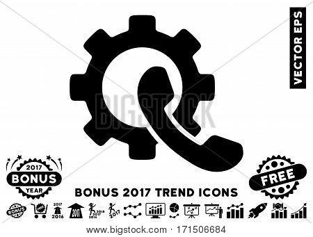 Black Phone Configuration icon with bonus 2017 trend elements. Vector illustration style is flat iconic symbols white background.