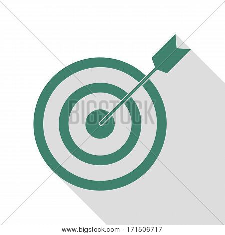 Target with dart. Veridian icon with flat style shadow path.