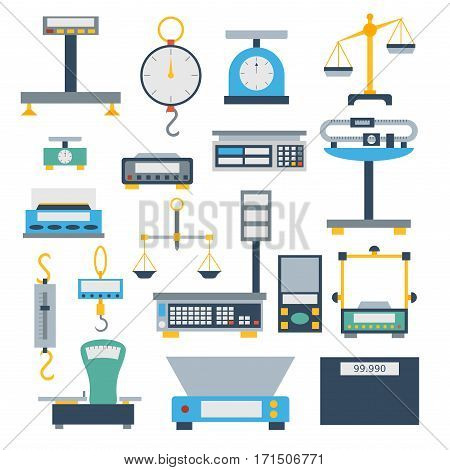 Flat decorative weight scales tool vector illustration. Measurement instrumentation balance overweight. Precision balance kitchen food equipment.