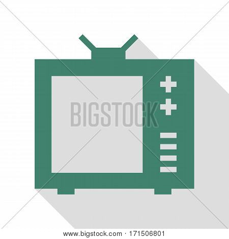 TV sign illustration. Veridian icon with flat style shadow path.