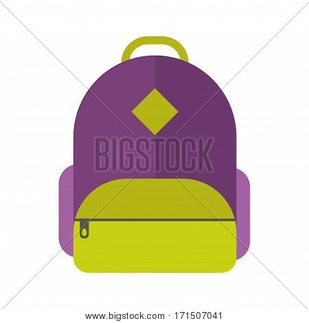 Kids school bag isolated on white background. Cartoon style backpack handle strap sack, textile rucksack equipment. Educational full schoolbag adventure vector.