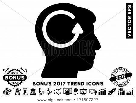 Black Refresh Head Memory icon with bonus 2017 year trend elements. Vector illustration style is flat iconic symbols white background.