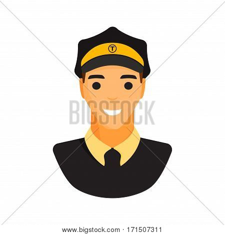 Limo chauffeur taxi driver character. Limousine driver icon. Flat style chauffeur driver vector illustration. Car drive male service business uniform handsome person.