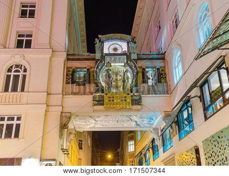 Famous Ankeruhr Clock in Hoher Markt - Vienna Austria