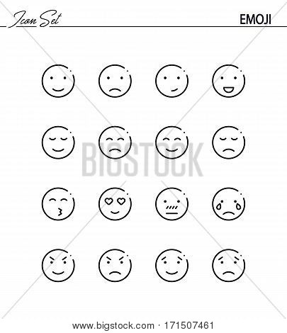 Emoji flat icon set. Collection of high quality outline symbols for web design, mobile app. Emoji vector thin line icons or logo.