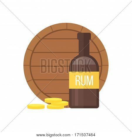 Pirate rum bottle on white background. Old style vector rum brown color reflection alcoholic cocktail for pirates. Bourbon or cognac barrel.