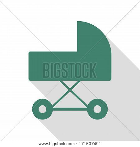 Pram sign illustration. Veridian icon with flat style shadow path.