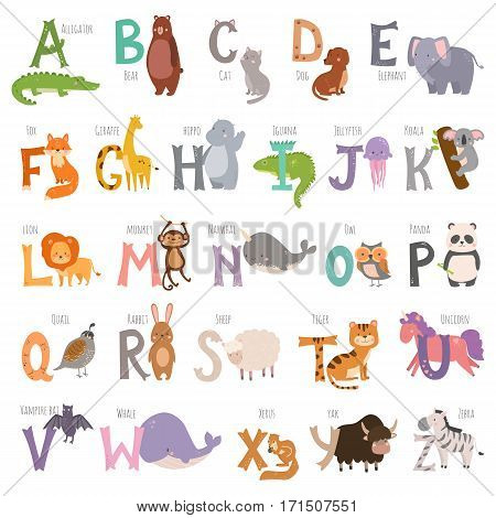 Cute zoo alphabet with cartoon animals isolated on white background and grunge letters wildlife learn typography cute language vector illustration. Nature wild study education font.