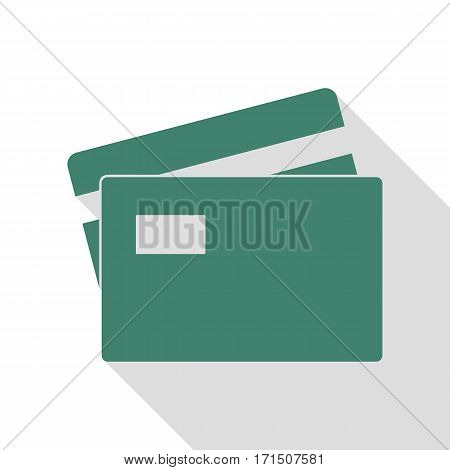 Credit Card sign. Veridian icon with flat style shadow path.