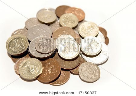 British coins isolated over white background