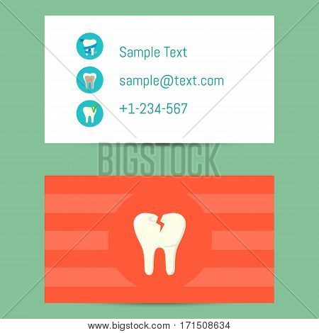 Professional business card template for dentists with decay tooth symbol on orange background, vector illustration. Dental office or clinic visiting card. Dental care concept