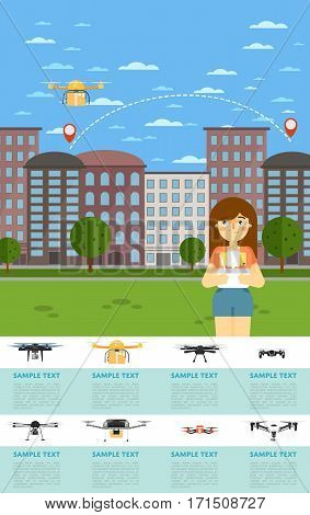 Drone aircraft website template with girl operating flying robot in park vector illustration. Remotely controlled multicopter. Unmanned aerial vehicle. Drone aircraft set. Modern flying device.