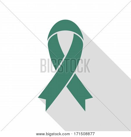 Black awareness ribbon sign. Veridian icon with flat style shadow path.