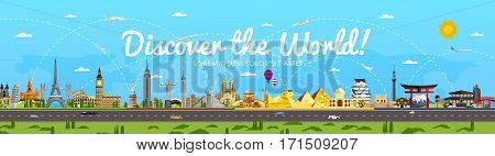 Discover the World poster with famous attractions vector illustration. Sphinx, Himeji Castle, Toronto TV tower, Torii gate, Egyptian pyramid, Old Town Square and other. Worldwide air traveling concept